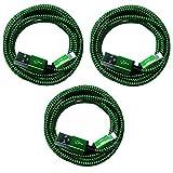1m + 2m + 3m [3-Pack] Premium Nylon USB 8Pin Ladekabel Datenkabel Set kompatibel mit [Apple iPhone X 10 8 8Plus 7 7Plus 6S 6S