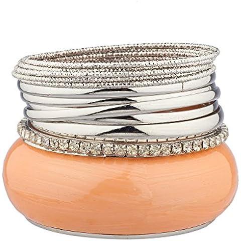Lux accessori Peach grande bracciale in metallo più Pave Set