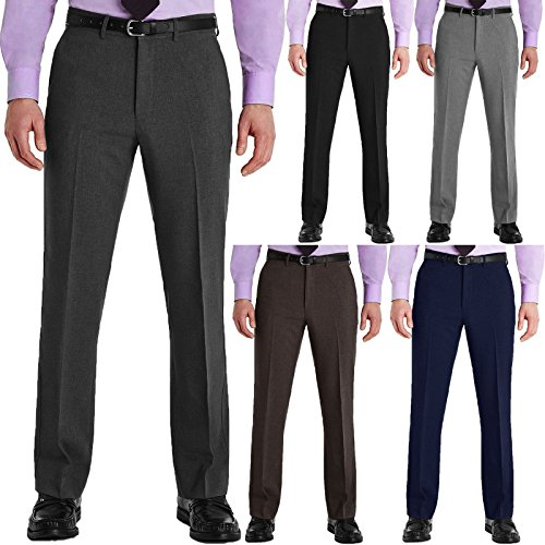 Mens Trousers Formal Office Smart Belted Casual Big Plus Size Free Belt Pocket Dress Pants Straight Leg Bottoms 27