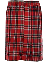 XXL XL L Ages 2-20 Girls Ladies School Box Pleated Formal Elasticated Skirt + UK M 8 Colours