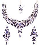 Piedra de Toque Oro Tono Bollywood Indio Azul y Blanco Brillantes Grand Novia joyería Collar para Las Mujeres
