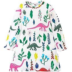 YoungSoul Vestidos de algodon para niñas, Vestido casuales de manga larga con estampado de floral Blanco Dinosaurio 6-7 años