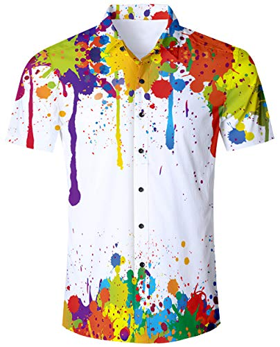ALISISTER Hawaiihemd Herren Button Down Hemden Männer Junge 3D Coole Graffiti Hawaii Hemd Casual Strand Party Aloha Shirts Strandkleidung Outfits M -