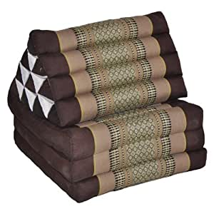 Kapok-coussin de yoga thaï, tantrakissen coussin de méditation strandkissen-marron/beige (triangle avec 3 embases :  52 x 50 x 45