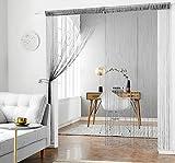 HSYLYM Glitzer-Fadenvorhang, Vorhangschals aus Silbernen Seidenschnüren, Quaste, Raumteiler, Dekoration für Ihr Zuhause, Polyester, Schwarz, 90x200cm