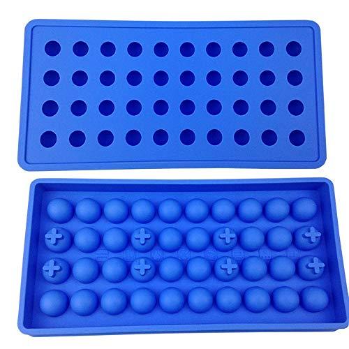 Mydio Form für 40 Mini-Eiskugeln, für Kinder, für Süßigkeiten, Pudding, Gelee, Milch, Saft, Schokolade, Cocktails, Whisky, hellblau