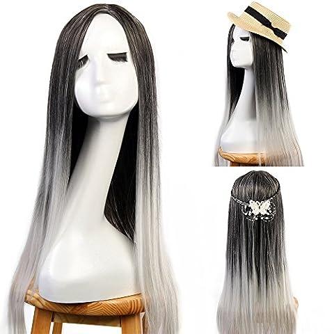Neverland Perücken für Frauen 60cm Schwarz Grau Ombre Haarverlängerungen Elegante