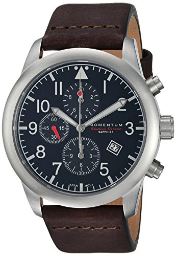 Momentum Men's Analog Japanese-Quartz Watch with Leather Strap 1M-SN34BS3C
