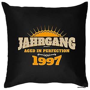 Lässiges Kissen zum 18. Geburtstag: JAHRGANG 1997, aged in perfection! von Goodman Design