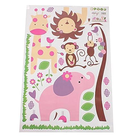 Bluelover Dschungel Tiere Giraffe Löwe Affe Elefant Wandtattoo Aufkleber Kind Zimmer
