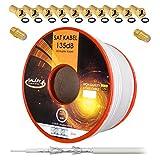 135dB 50m Koaxial SAT Kabel Reines KU Kupfer PRO 5-fach geschirmt Koax Antennenkabel für DVB-S/S2 DVB-C und DVB-T BK Anlagen + 10x vergoldete F-Stecker UND 2x F-Verbinder Gratis dazu