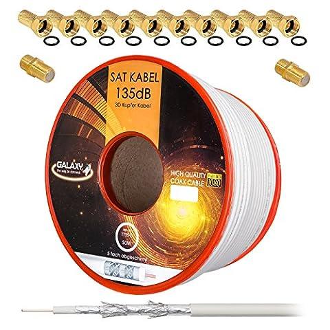 135dB 50m Koaxial SAT Kabel Reines KU Kupfer PRO 5-fach geschirmt Koax Antennenkabel für DVB-S / S2 DVB-C und DVB-T BK Anlagen + 10x vergoldete F-Stecker UND 2x F-Verbinder Gratis