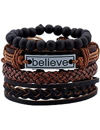 University Trendz Natural Stone Beads Inspirational Believe Words Metal Genuine Leather Bracelet for Men Stylish Casual Wear(Set of 4)