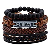 University Trendz Natural Stone Beads Inspirational Believe Words Metal Genuine Leather Bracelet