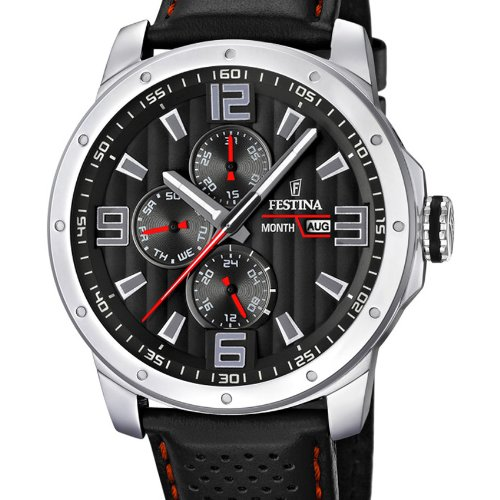 Festina F16585/8 Chrono Bike 2012 - Reloj analógico de cuarzo para hombre, carcasa de acero inoxidable, correa de cuero, color negro (agujas luminiscentes)