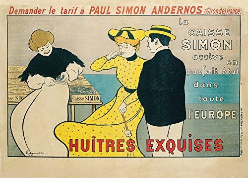 Vintage Lebensmittel und Konfekt Kasten Austern, Frankreich C1901von Leonetto Cappiello 250gsm, Hochglanz, A3, vervielfältigtes Poster -