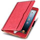 iPad Mini Case - The Original Red & Tan Leather Smart Cover for iPad Mini 4th, 3rd, 2nd and 1st Generation