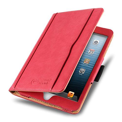ür iPad Mini | Ledertasche Flip Case [Business Tasche] Leder Smart Cover Lederhülle für iPad Mini 4. 3. 2. & 1. Generation, Rot & Honig [mit Eingabestift & Pencil Halter] ()