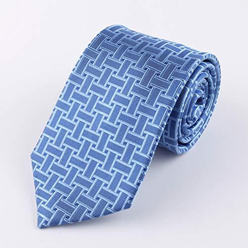 Lywljg Krawatte Mann Business Krawatte Blaue Seidenkrawatte geometrischen Ebene Muster 145 * 8cm -