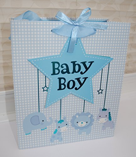 lovely-blue-baby-boy-gift-bag-with-tag-seal-elephant-giraffe-lion-and-zebra-design-size-h-255-cm-x-w