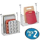 mDesign kleines Küchenregal zum Aufhängen – der praktische Ordnungshelfer für die Küche – Küchenablage für Schneidebretter – verchromtes Metall - 2er Set