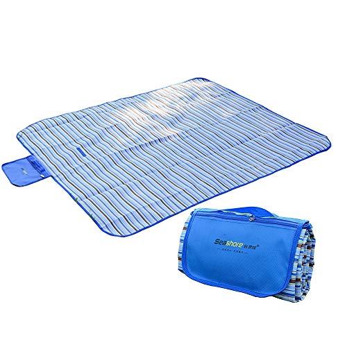 SDFSFSDFWaterproof Outdoor Tragbare Picknickmatte Streifen Campingplatz Matratze Faltbare Strand Camping Picknickmatte Decke Mit Haken - Streifen Matratze