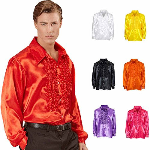 Amakando Rüschenhemd Schlagerstar 70er Jahre Hemd XL 54 rot Disco Satinhemd Herrenhemd Schlager Schlagerparty Accessoire Saturday Night Fever