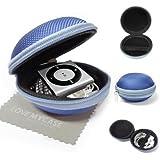 """StyleBitz / Étui """"coquillage"""" pour ranger, protéger et transporter les écouteurs de votre Apple iPod Shuffle 2è, 3è et 4è génération, fermeture éclair, poche intérieure, extérieur ultra-résistant, avec chiffon de nettoyage conçu en exclusivité par StyleBitz (Bleu)"""