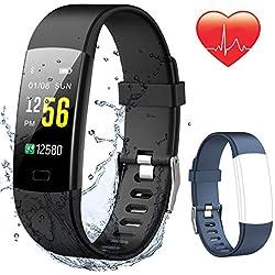 Pulsera Actividad Inteligente Pantalla Color HR, NAIXUES Reloj Inteligent Hombre con ❤Monitor de Ritmo Cardíaco/Podómetro/GPS/Monitor de Sueño/Cronómetro/Impermeable IP67/Notificaciones de Mensaje, Pulseras Actividad Hombre Mujer Niños