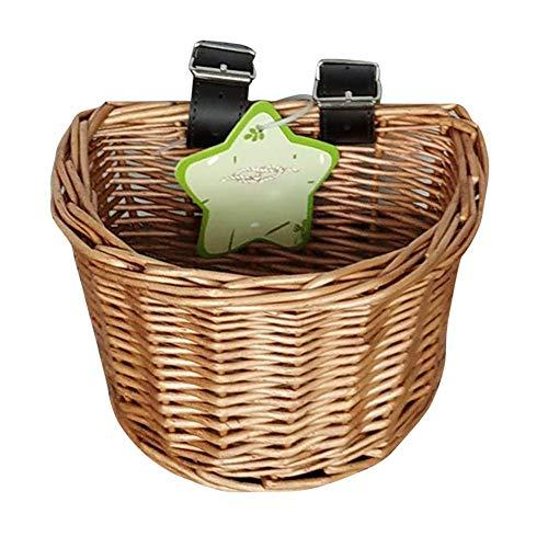 cypressen Retro Fahrradkorb Aus Korbgeflecht Mit Hellbrauenen Lederriemen Handgemachte Künstliche Wicker Woven Fahrradkorb Vorne Lenker Rattan Korb