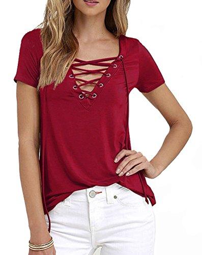 DoubleYI Damen Sommer Frauen Kurzarm Shirt V Ausschnitt Oberteile lässige Bluse T-shirt Tops Dunkelrot
