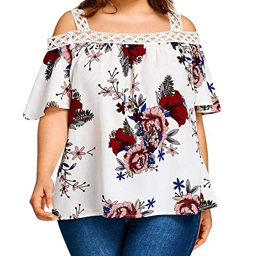62dea6c4466cc1 Andouy Übergroßes Top Shirt Damen Plus Size Kurzarm Damen Lose Bluse Plus  Size