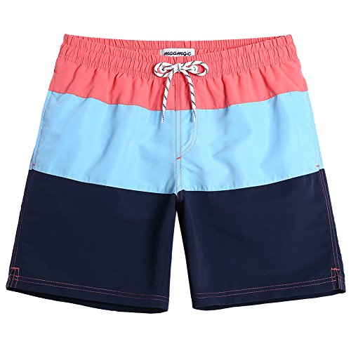aa157f4848 MaaMgic Mens Striped Swim Trunks with Mesh Lining Quick Dry Swim Trunks  Bathing Suits 18111859633