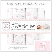 SwaddleDesigns Mantas Envolventes Muselina de Algodón, Mariposas y flores, Rosa pastel, Set de 4
