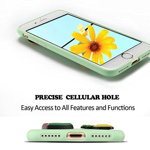 iphone 7 Hülle, Ultra Dünn TPU Weich Silikon Handy Hülle für iphone 7 8 (4.7 Zoll), 3D Niedlichen Einfarbig Muster Design Handycover Schale Schutzhülle Ultradünnen Etui Anti-Stoß Kratzfeste Case Cover grün
