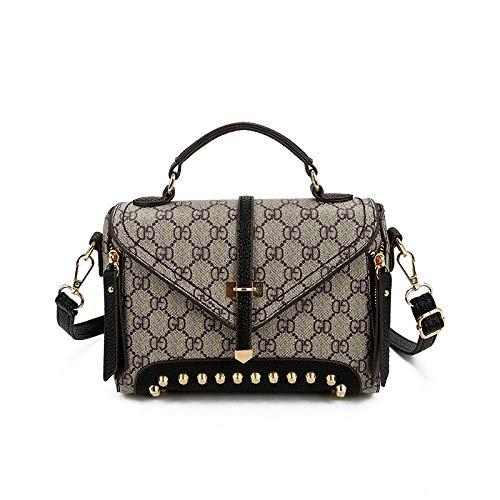 LFGCL Bags womenPrinted kleine quadratische Tasche Vintage-Nietentasche mit vielseitiger Umhängetasche, A-schwarz