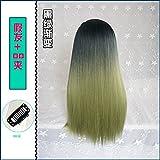 WIAGHUAS U-Förmige Perücke Glattes Haar Unsichtbar Nahtlose Farbverlauf Grün Rosa Grau Halbe Kopfbedeckung,Dunkelgrün Farbverlauf