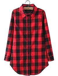 Neuf Femmes Automne Mode Coton Casual Ample T-shirt Chemise à Carreaux Manche Longue Rouge 2XL
