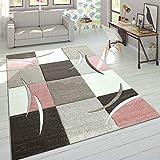 Designer Tappeto Moderno Taglio Sagomato Colori Pastello con Motivo A Quadri in Beige Rosa, Dimensione:160x230 cm