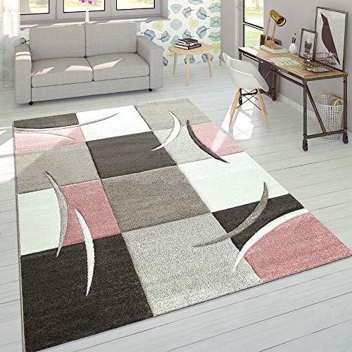 Paco Home Créateur Tapis Moderne Contours Découpés Couleurs Pastel À Carreaux Motif en Beige Rose, Dimension:120x170 cm