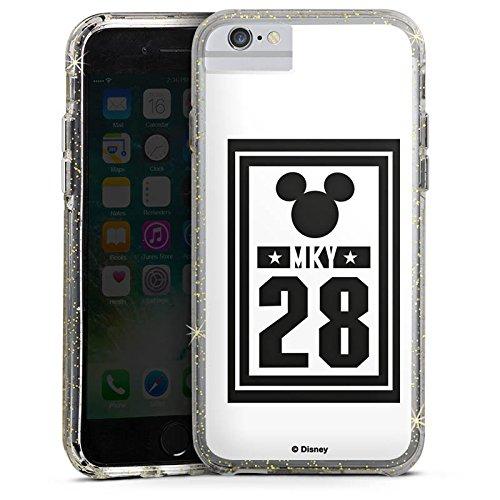 Apple iPhone 6s Bumper Hülle Bumper Case Glitzer Hülle Disney Mickey Mouse Geschenke Fanartikel Bumper Case Glitzer gold