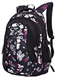 SellerFun® Kid Child Girl Flower Printed Waterproof Backpack School Bag(Black,Large)