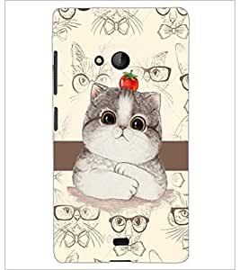 PrintDhaba Cute Kitty D-4031 Back Case Cover for MICROSOFT LUMIA 540 (Multi-Coloured)