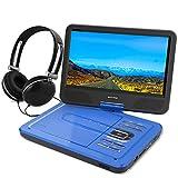"""WONNIE 10.5"""" Tragbarer DVD-Player, Schwenkbaren Bildschirm, HD Display 4-5 Stunden Akku, USB/SD Slot Mit Kopfhörer, Perfekte Geschenke für Kinder (Blau)"""