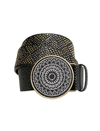 Desigual Cint_Chapon Bordado Crux, Cintura Donna, Nero (Negro 2000), 85 cm (Taglia Produttore: 85 Cm)