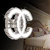 LED K9 Kristall Wandleuchte Modern Design Edelstahl Spiegel Wandbeleuchtung Babyzimmer Schlafzimmer Wohnzimmer Flur Elegante Halbkreis Doppel C Dekorativer Wandlampe L27cm*H21cm Weißes Licht 5500K