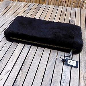 Clutch Handtasche Damentasche Damen Schwarz Pelzimitat Pelz Faux-fur, von wagnerstrassse