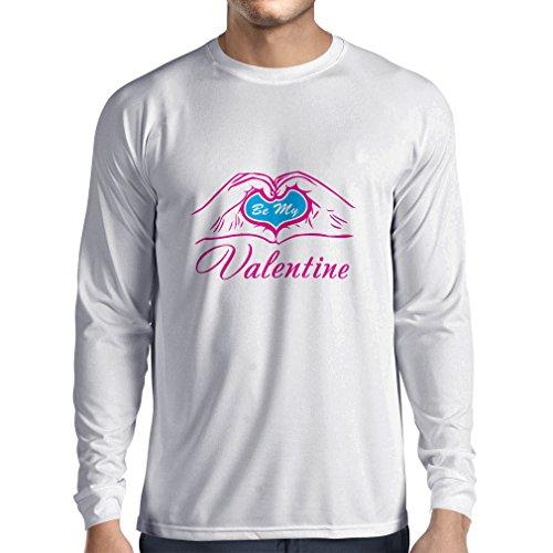 """T-Shirt mit langen Ärmeln """"Seien Sie mein Valentinsgruß - Liebe"""", großes St. Valentinsgrußgeschenk Weiß Magenta"""
