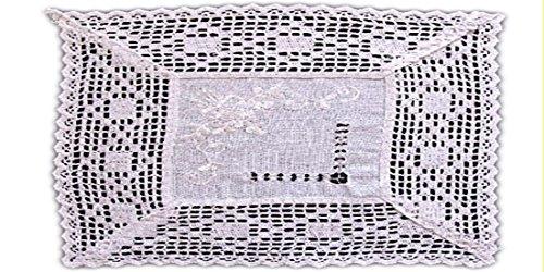 wunderschöne Tischdecke 35x50 cm in edlem Stil und toller BAUMWOLLoptik HÄKELSPITZE weiß BAUERNDECKE Landhaus (Deckchen 35x50 cm)