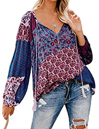 Elapsy Womens Casual Long Sleeve Split V Neck Floral T Shirt Tassel Bohemian Blouses Tops